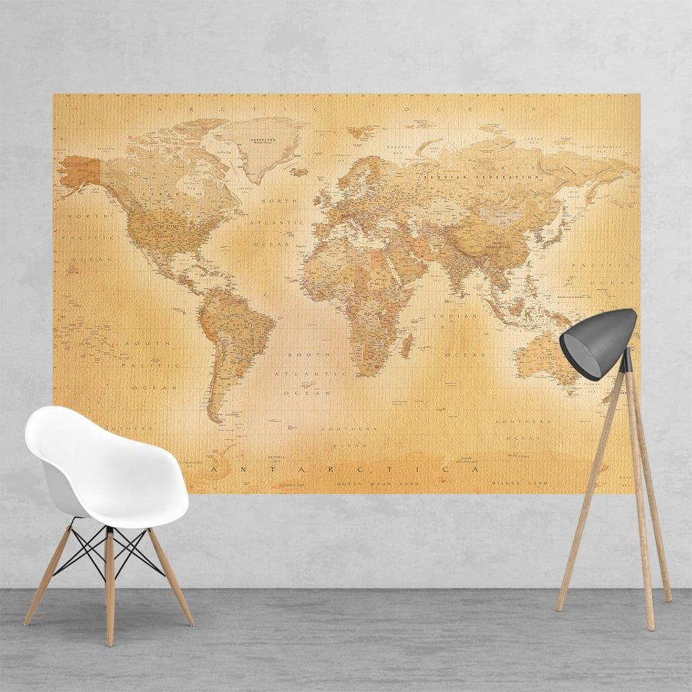 Vintage Colour World Map Feature Wall Wallpaper Mural | 158cm x ...