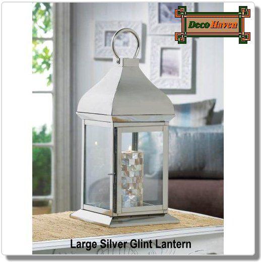Large Silver Glint Lantern In 2020 Large Lanterns Contemporary