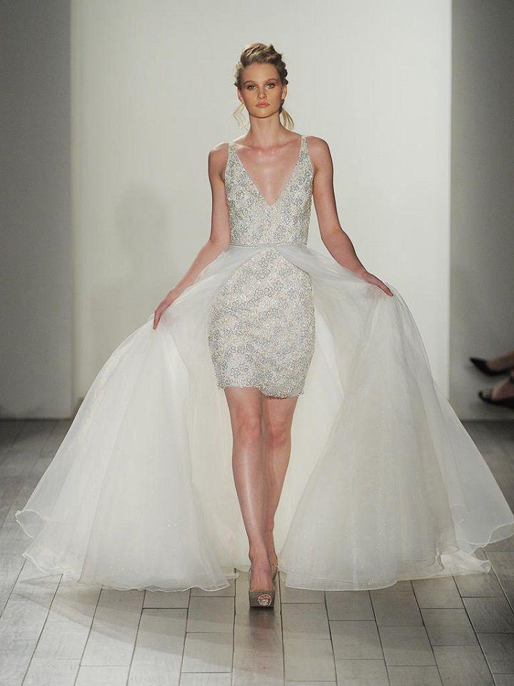 short embellished underlay wedding dress sheer tulle overskirt | itakeyou.co.uk #weddingdresses #weddingdress #lazaro #wedinggown