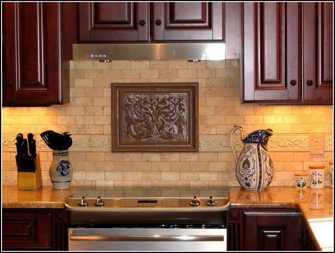 Exceptionnel Decorative Tile Inserts Kitchen Backsplash Like The Neutral Subway Tile,  Border And Decorative Insert Under Range Hood
