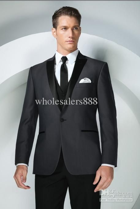15fe8a128c 2019 Brand New Groom Tuxedos Charcoal Grey Peak Lapel Best Man ...