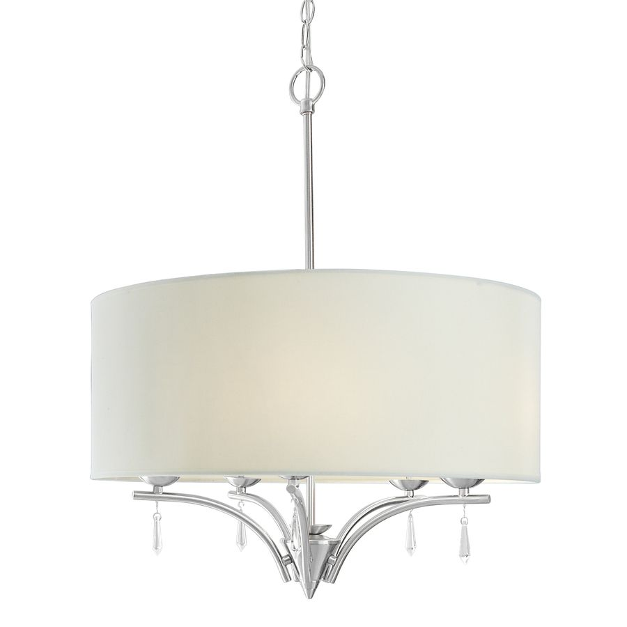 Style Selections 23 In W Brushed Nickel Pendant Light With Fabric Shade At