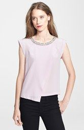 Rebecca Taylor Embellished Neck Asymmetrical Silk Top