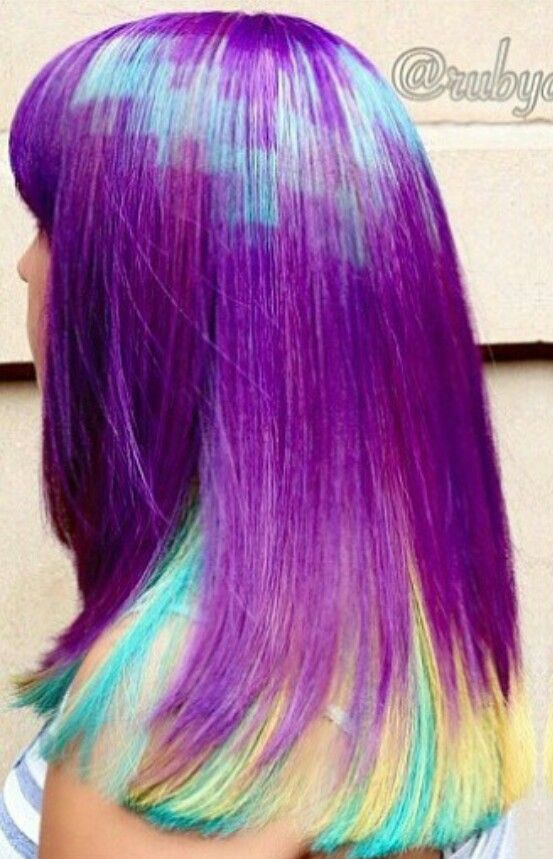 Purple Blue Dyed Hair Design Color Rubydevine Colorful Hair