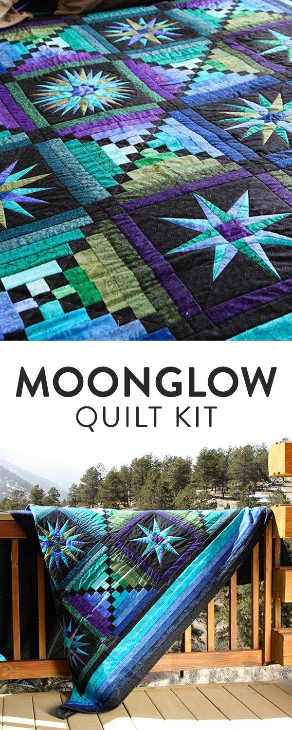 Quilts Moon glow quilt Turquoise blue