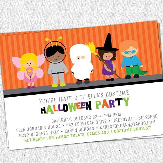 printable halloween invitation birthday party costume kids children trick or treat - Kids Halloween Party Invite