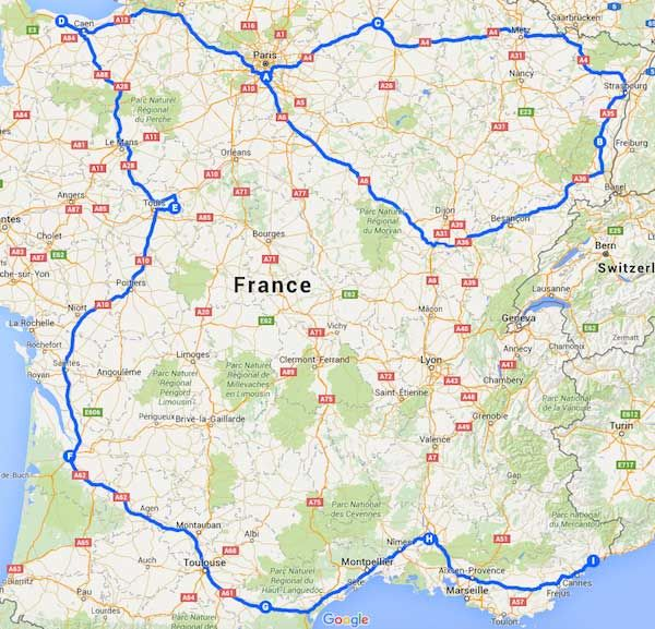 Driving Map Of France.European Itineraries 1 Month 30 Day Self Drive Tour Of France