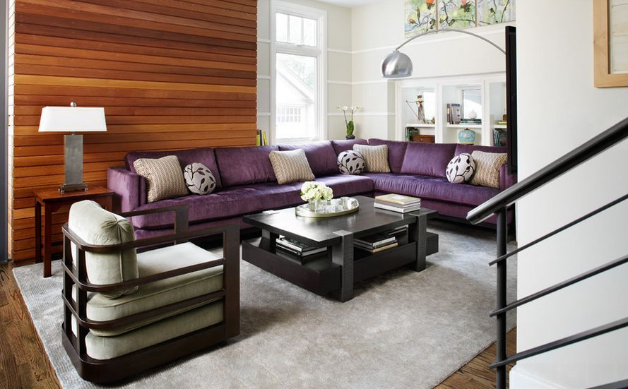 L Shaped Purple Sofa And Wood Accent Wall For A Beautiful Living Room Home Decorating Trends Purple Living Room Couches Living Room Purple Living Room Sofas #purple #couch #living #room #ideas