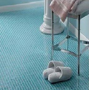 Superior Blue Mosaic Tile Bathroom Floor