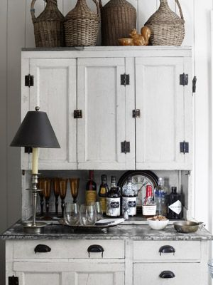 A Natural Antebellum Home | Bar areas, Cupboard and Hoosier cabinet