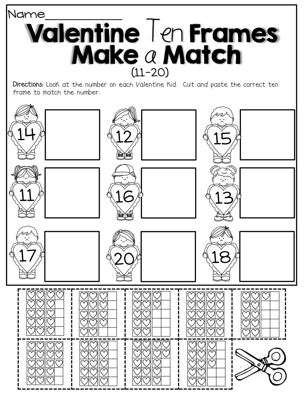 February No Prep Packet Kindergarten Ten Frame Valentines School Kindergarten Valentines [ 1325 x 1024 Pixel ]