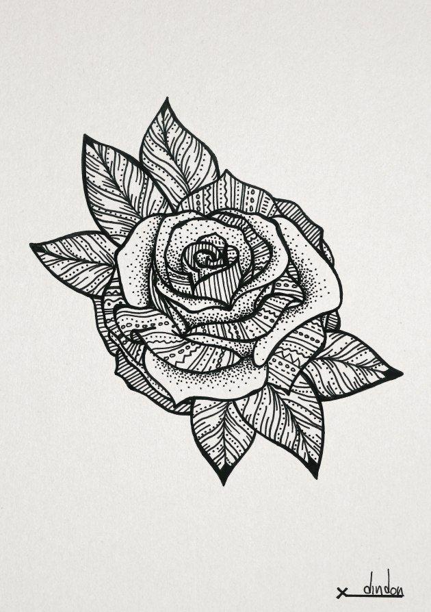 Rose | Drawings, Lotus flower art, Doodle drawings