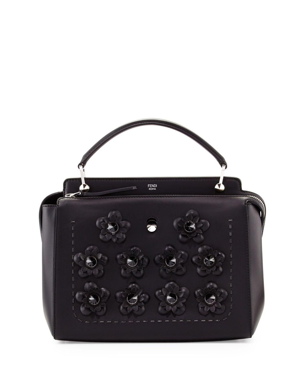 Fendi Dotcom Medium Flowers Satchel Bag, Black, Women s    Handbags ... 4eb07703cd