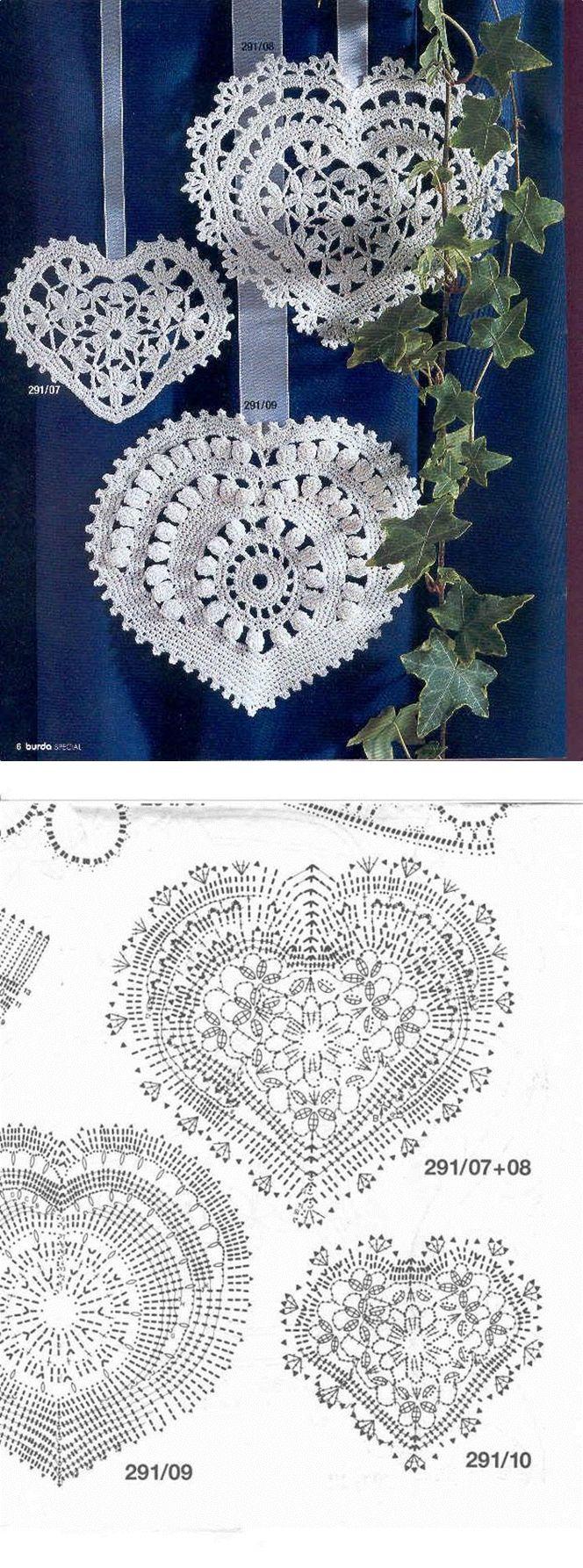 crochet hearts | horgolt szív | Pinterest | Ganchillo, Mandalas y ...