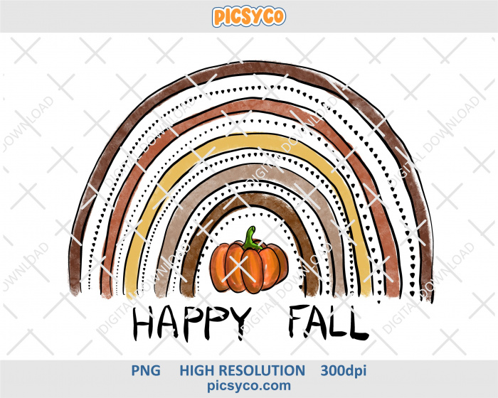 Happy Fall Rainbow Png Pumpkin Png Hand Drawn Digital Download File For Sublimation Print Rainbow Png Happy Fall Pumpkin Png