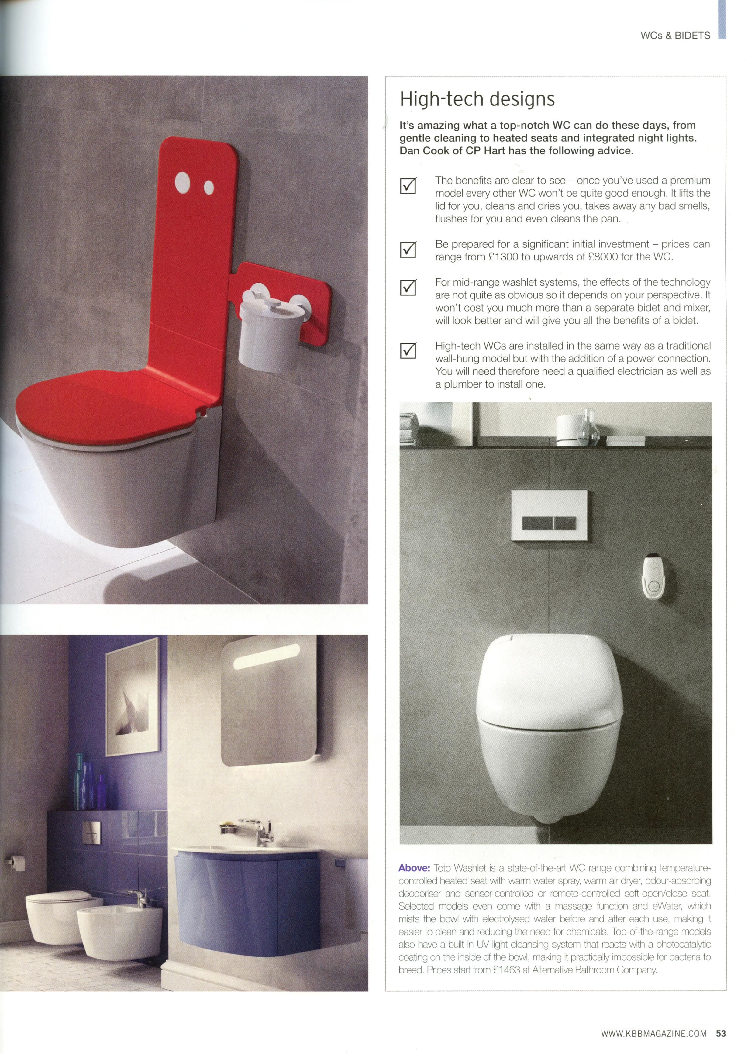 Toto washlet - state of the art toilet from Alternative Bathrooms ...