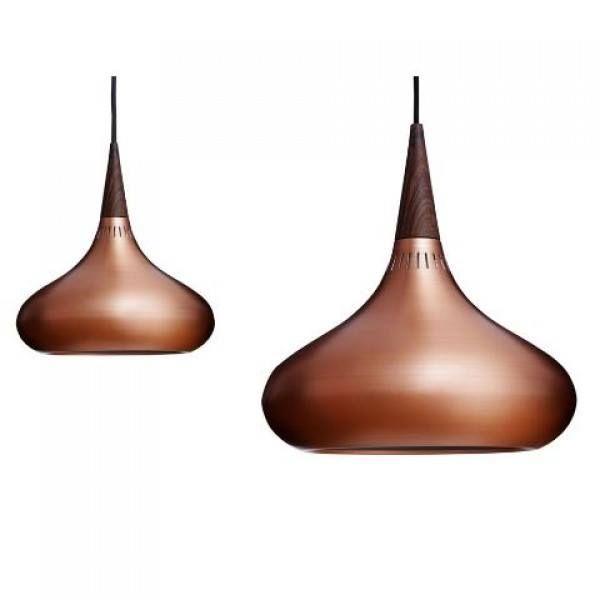 Copper and Teak Pendant Lights