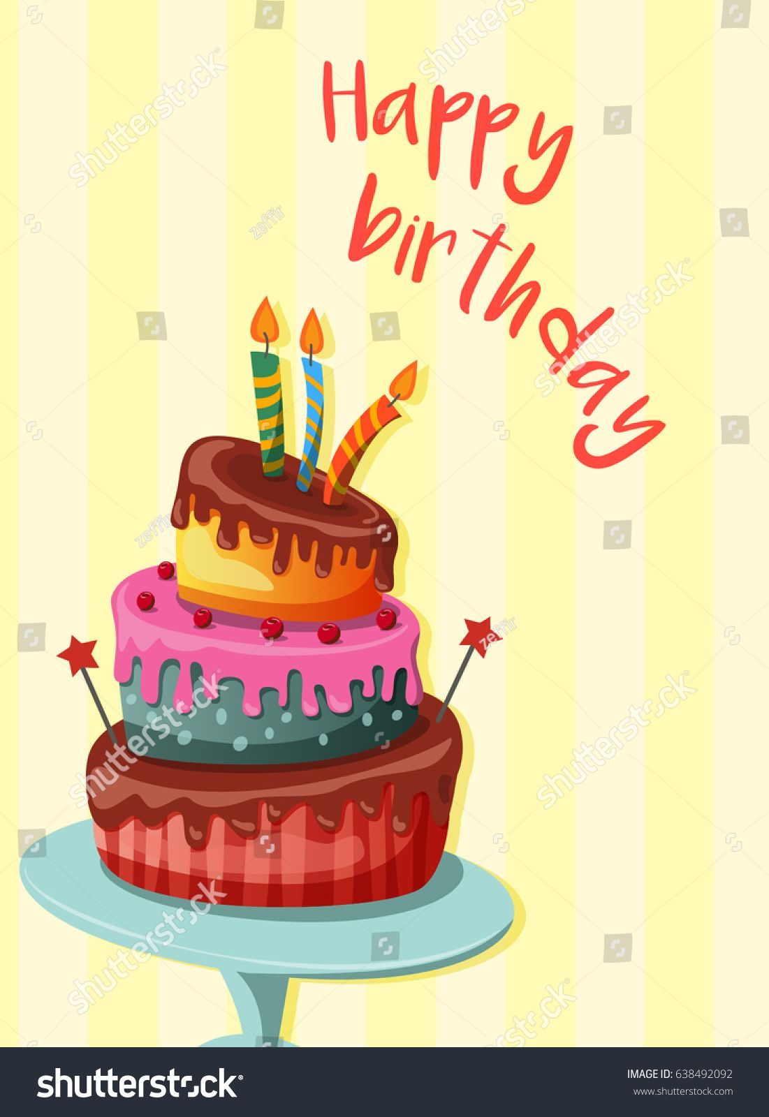 Sweet Baked Isolated Cake Birthday With Candles Vector