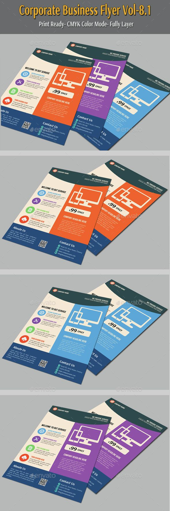 Corporate Business Flyer Vol8.1 — Vector EPS #marketing #designs flyer • Available here → https://graphicriver.net/item/corporate-business-flyer-vol81/6607916?ref=pxcr