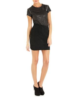 Firetrap Black Jamie Leather Zip Sleeve Dress