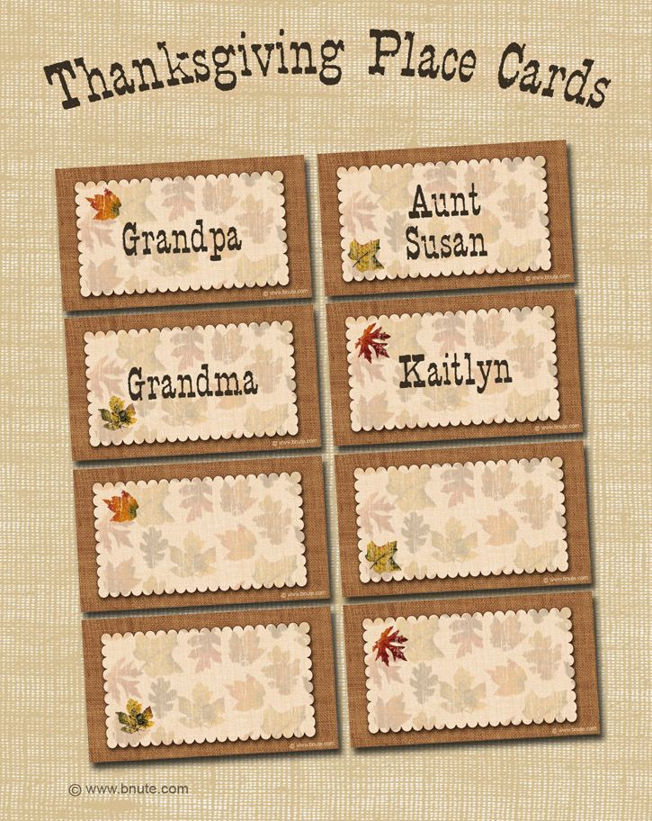 Free Printable Autumn Place Cards Perfect for Thanksgiving