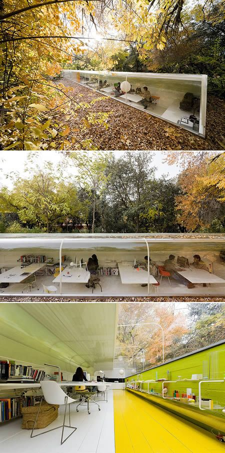 A great project of Spanish architecture firm, Selgas Cano, designed by Iwan Baan. The office, which is located in the middle of a forest, allows you to have a good view of its surroundings through the wall of windows while you are working. The clear roof reduces the usage of electricity on lights and depends more on natural sunlight during daytime.