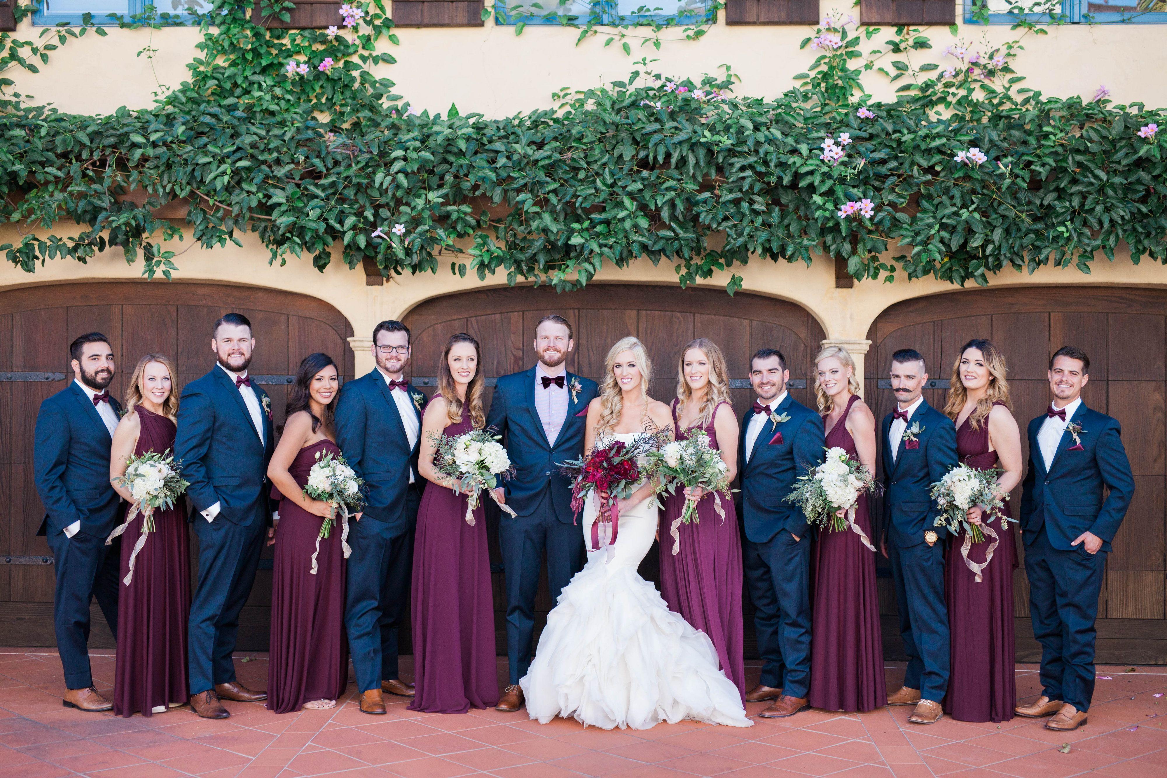 Winter garden wedding with shades of marsala, berry