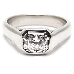 TIFFANY & CO ENGAGEMENT RING 1 CARAT LUCIDA DIAMOND BEZEL SOLID PLATINUM