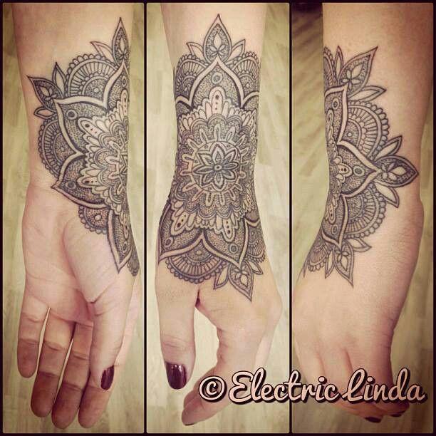 Wrist Cuff Lace Mandala Mehndi: Mandala Wrist Hand Ink Tattoo