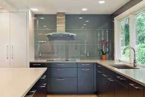 Grey Back Painted Glass Backsplash Kitchen Design Software