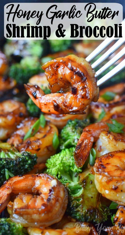 Honig Knoblauch Butter Shrimps & Brokkoli