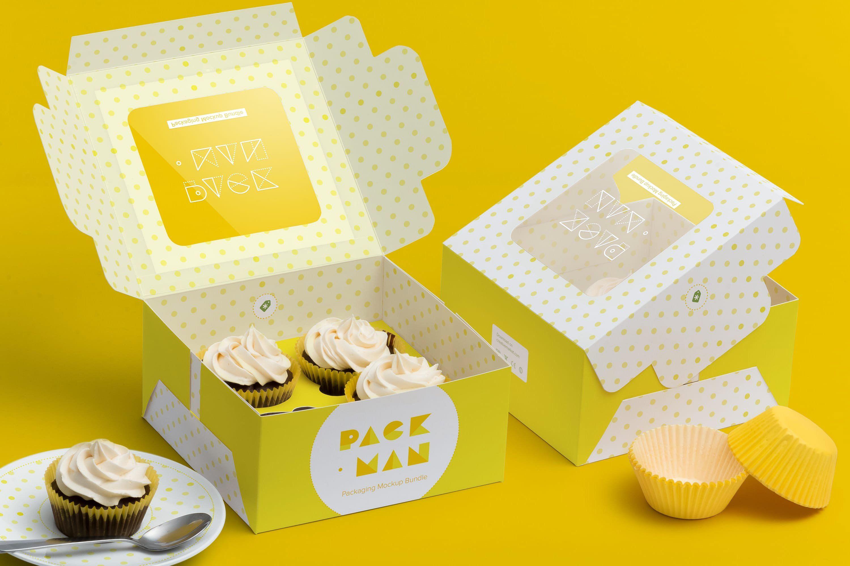 Download Four Cupcake Box Mockup 01 Box Mockup Cupcake Boxes How To Make Box
