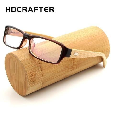 46e402ba8e Vintage Square Glasses Frame Bamboo Legs Clear Glasses for Men Womenmodlilj