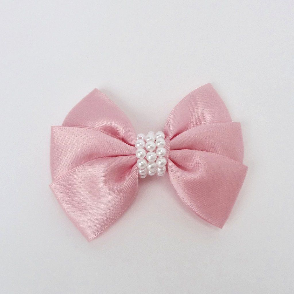 "4520ffdb147e8 Girls Set of 2 Satin Hair Bow Clips 3"" Long- Baby Pink 