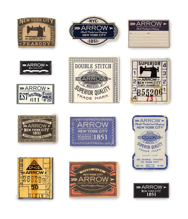 Arrow And Cluett Labels And Packaging Vintage Labels Label Design Vintage Typography