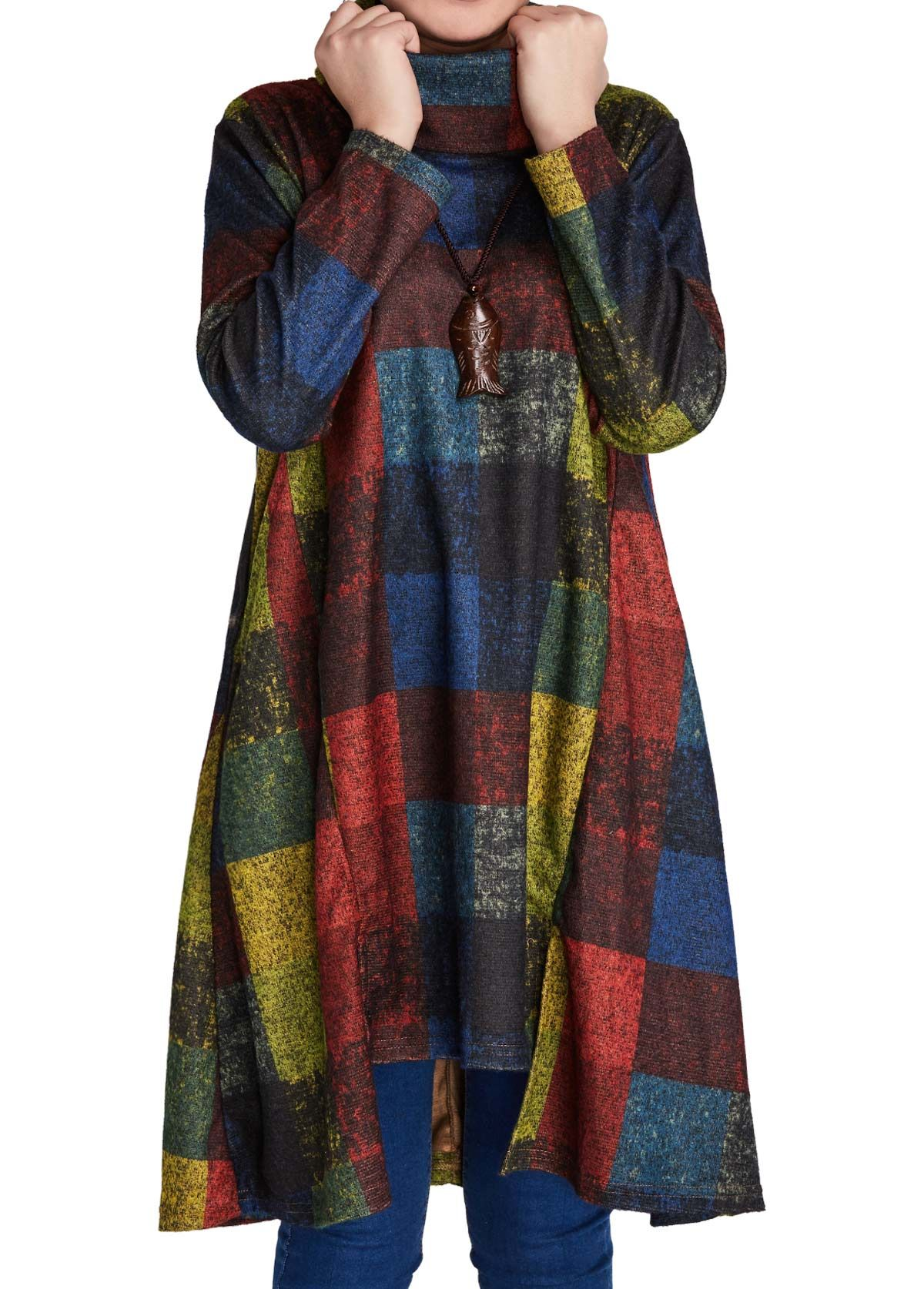 Long sleeve asymmetric hem plaid print shift dress on sale only us