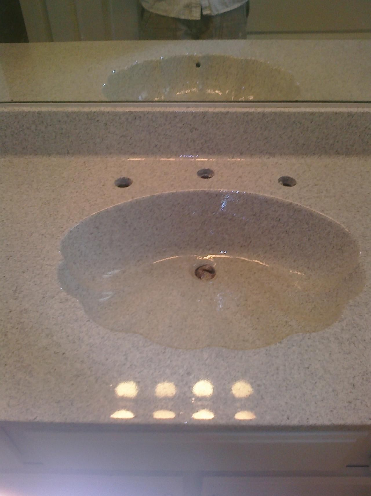 PKB Reglazing : Cultured Marble Sink Reglazed Travertine Speckled