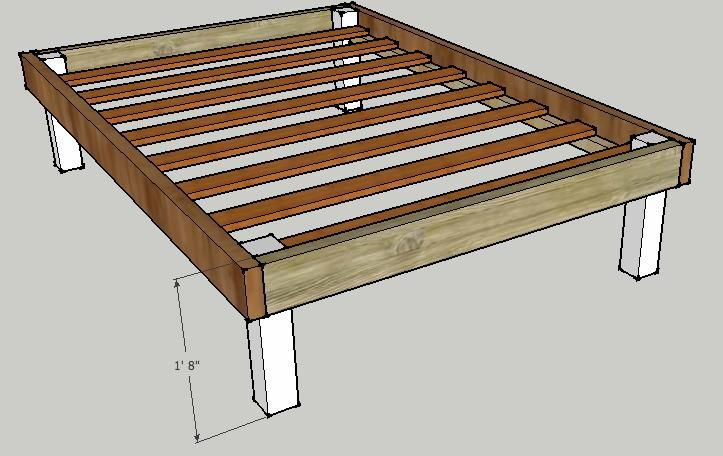 Make your own platform bed building a queen bed frame for Bed frame plans