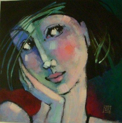 regard de femme 1 peinture 2x50x50 cm 2009 par odile chodkiewicz peinture contemp pinteres. Black Bedroom Furniture Sets. Home Design Ideas