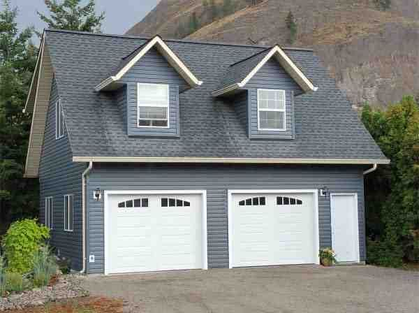 Traditional Style 2 Car Garage Apartment Plan Number with 1 Bed 1 Bath