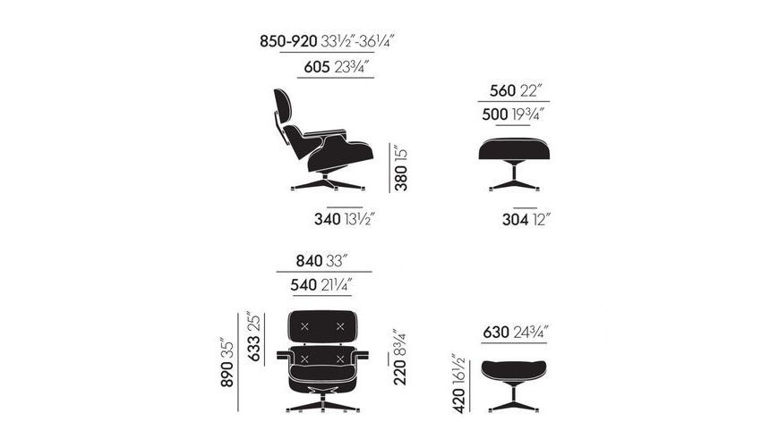 Vitra - Eames Lounge Chair & Ottoman H89cm - line drawing