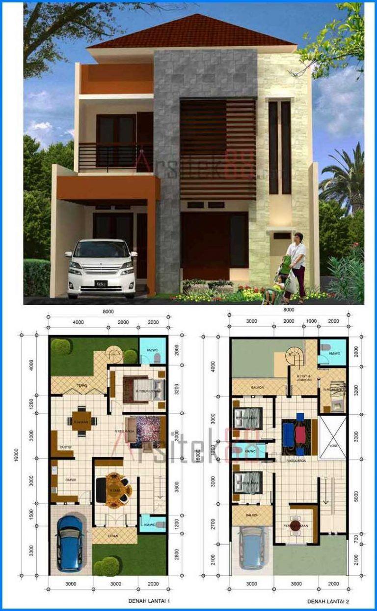Foto Denah Rumah Minimalis 2 Lantai Sederhana Dengan Gaya Modern Type 45 Denah Rumah Rumah Minimalis Desain Rumah