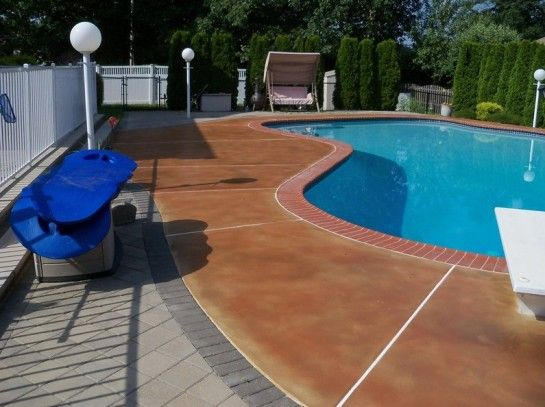 Pool Decks For Above Ground Pools Design Gripping Resurfacing A Pool Deck With Interfab La Mesa Diving Board Also Wrought Wood Pool Deck Pool Pool Landscaping