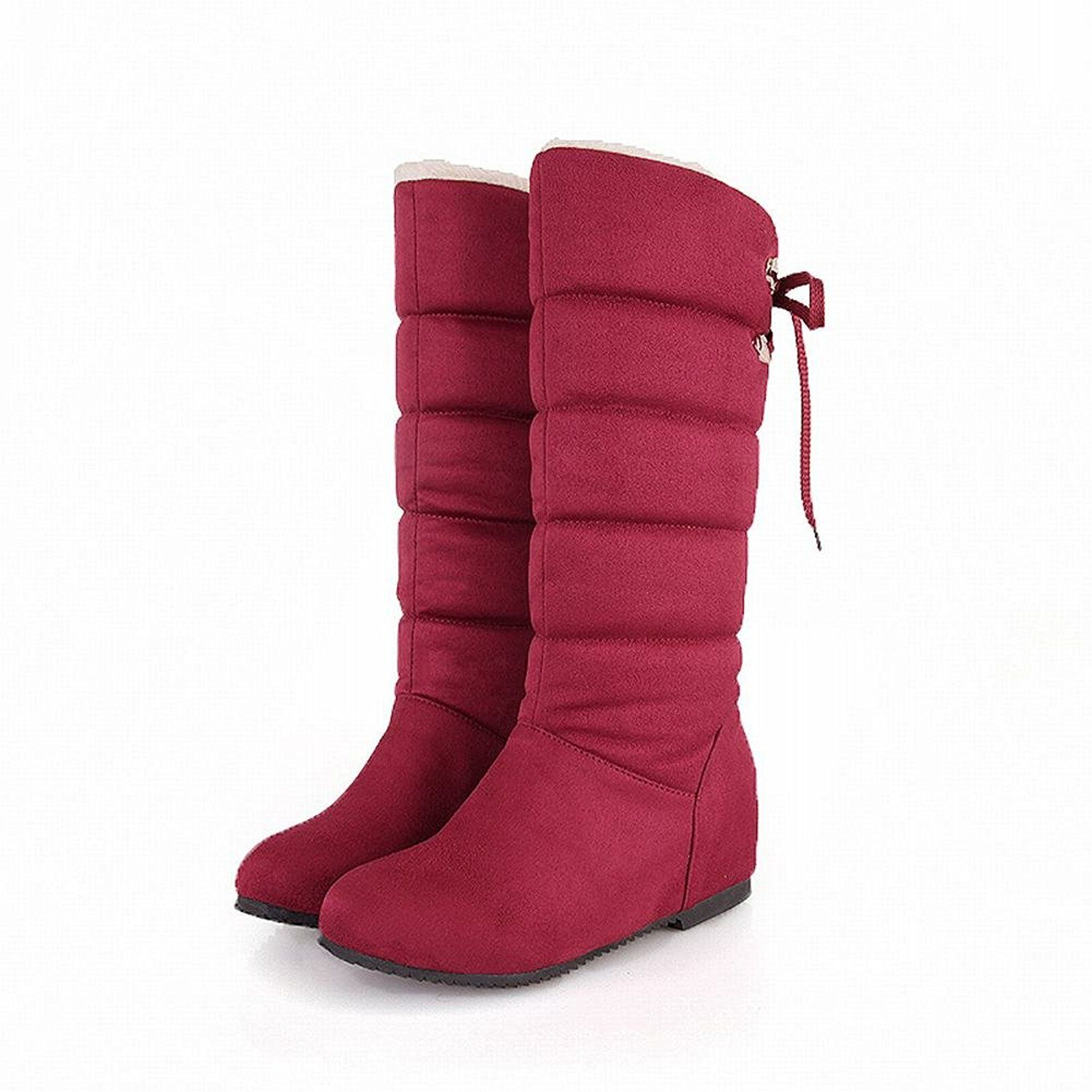 Women's Lace up Warm Fashion Comfort Cold Weather Hidden Wedge Heel Snow Boots