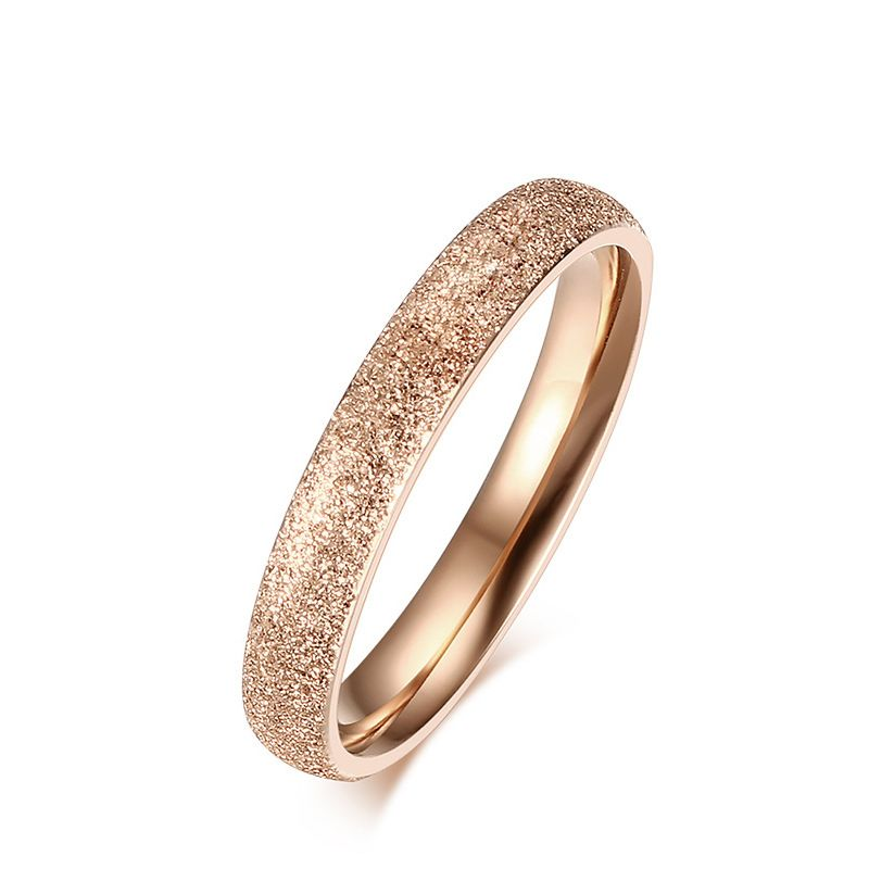 Rose Gold Color Rings For Women 3mm Wedding Band Matting Titanium