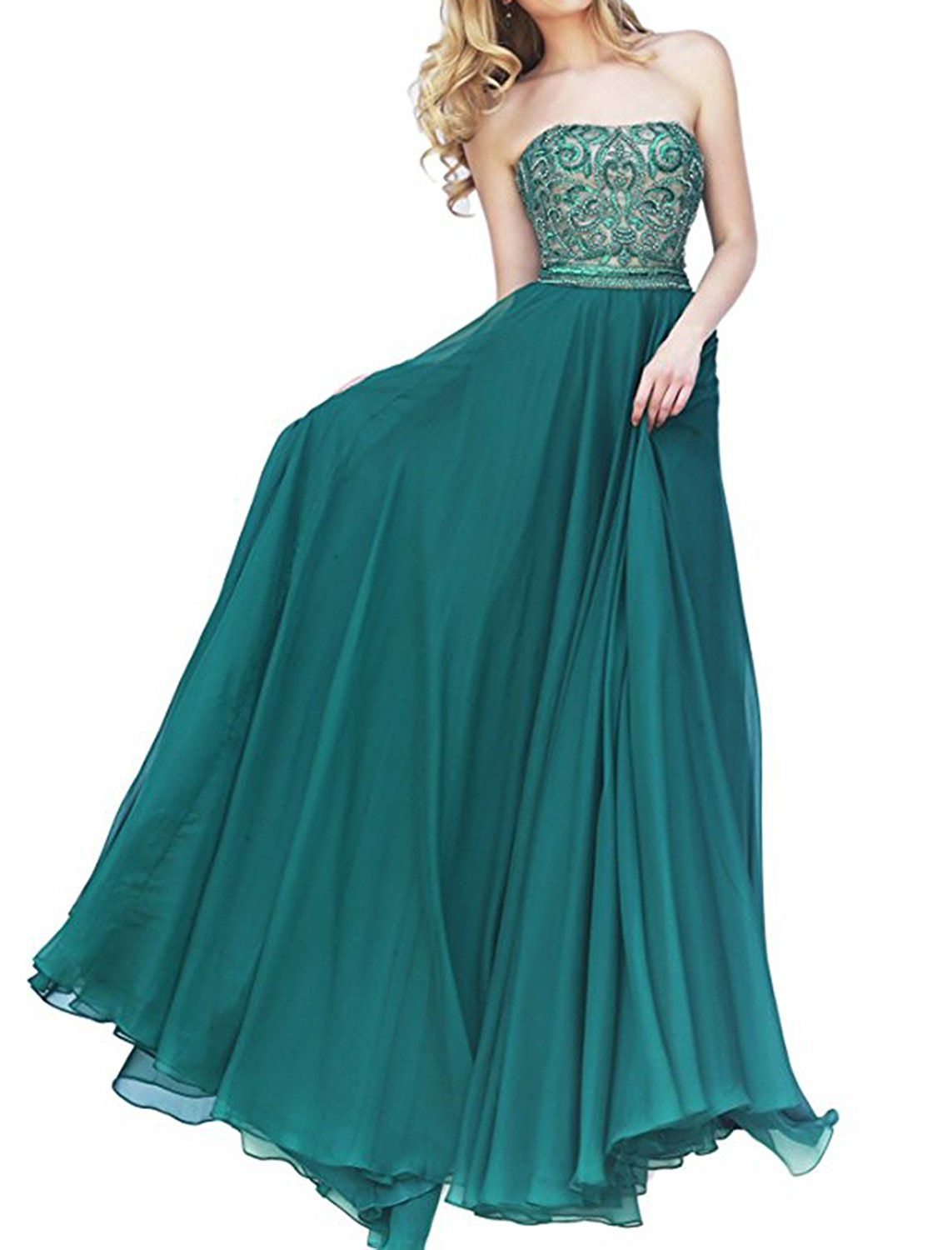 Hatail Strapless Beaded Prom Dress Long A Line Evening Gown for ...