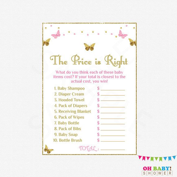 Pink Gold Baby Shower Games Butterfly Baby Shower Girl The Price