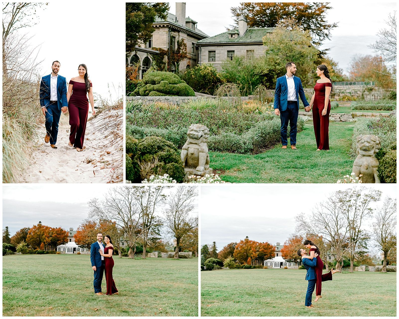 Coastal Fall Engagement Session At A Mansion In Connecticut Harkness Memorial State Park State Parks Coastal Fall Fall Engagement