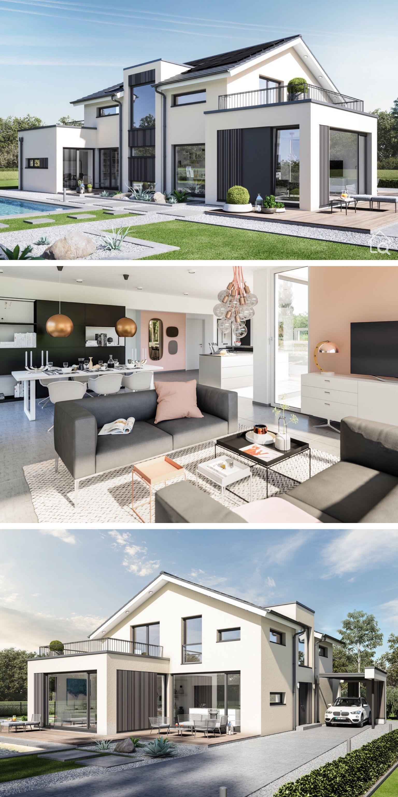 Modernes Design Haus Mit Satteldach Contemporaryofficeinteriordesign Design Haus Mit M Modern House Design House Design Prefabricated Houses