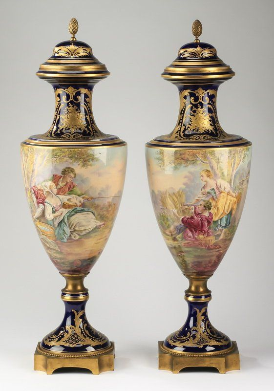 "Decorative Urns Vases 2 Sevres Porcelain Urns Marked 23""h  Lot 724  Sevres"